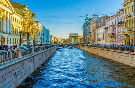 colonade: SAINT PETERSBURG - APRIL 24, 2015: The Griboedov Canal boasts such religious landmarks as Kazan Cathedral and Church of the Savior on Blood, on April 24 in Saint Petersburg. Editorial