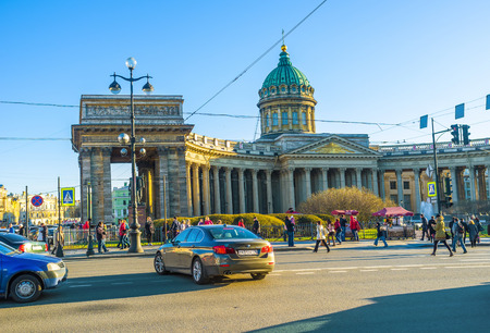 colonade: SAINT PETERSBURG - APRIL 24, 2015: The architect of Kazan Cathedral was inspired by St. Peters Basilica in Vatican, on April 24 in Saint Petersburg. Editorial