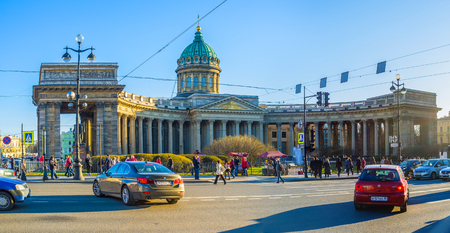 colonade: SAINT PETERSBURG - APRIL 24, 2015: The huge colonade of Kazan Cathedral is the most recognizable element of the building, on April 24 in Saint Petersburg. Editorial