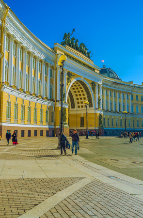 quadriga: SAINT PETERSBURG - APRIL 24, 2015: The quadriga with six horses  is the most impressive element of the Triumphal Arch on Palace Square, on April 24 in Saint Petersburg.