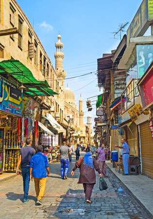 CAIRO, EGYPT - OCTOBER 10, 2014: The Khan el-Khalili souq (market) is one of the most interesting tourist attractions in Islamic Cairo, on October 10 in Cairo.