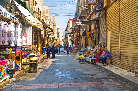 souq: CAIRO, EGYPT - OCTOBER 10, 2014: The Khan el-Khalili souq (market) is one of the most interesting tourist attractions in Islamic Cairo, on October 10 in Cairo.