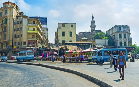 commercial activity: CAIRO, EGYPT - OCTOBER 10, 2014: The area near by Ataba Square is bustling with commercial activity, on October 10 in Cairo.