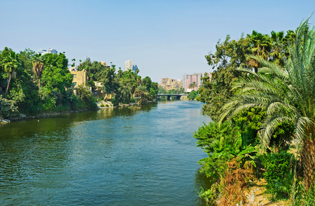 El Roda island and Nile Cornish in City Garden district are covered by lush greenery, Cairo, Egypt.