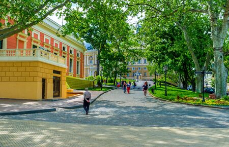 best way: ODESSA, UKRAINE - MAY 17, 2015: The best way to walk in old city is to walk through its parks in the shade and cool, on May 17 in Odessa. Editorial