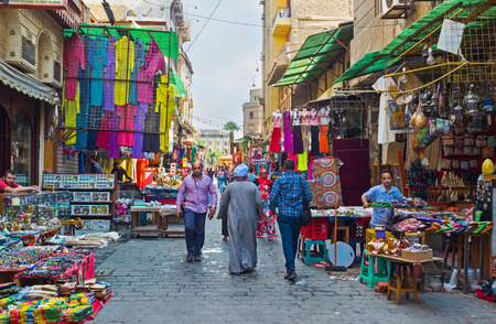 CAIRO, EGYPT - OCTOBER 10, 2014: The visiting of Khan El-Khalili souq  is the best attraction for travelers, those like arabic culture, on October 10 in Cairo.