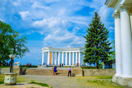 colonade: ODESSA, UKRAINE - MAY 17, 2015: The colonnade of the Vorontsovs Palace is the most beloved place among local couples, on May 17 in Odessa.