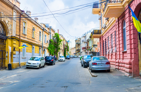 vorontsov: ODESSA, UKRAINE - MAY 17, 2015: The Vorontsov lane is a historical district in the heart of the city with small buildings, arches to the courtyards and silence, on May 17 in Odessa.