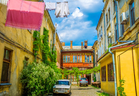 vorontsov: ODESSA, UKRAINE - MAY 17, 2015: The cozy courtyard is a part of an old Odessa in the modern city, on May 17 in Odessa.