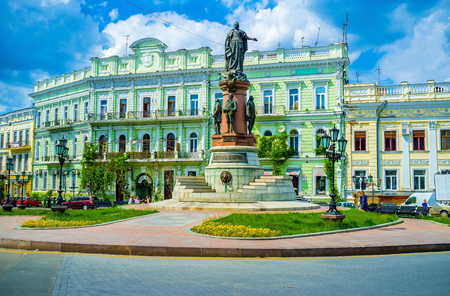 founders: ODESSA, UKRAINE - MAY 17, 2015: The huge monument to the Catherine the Great and four founders of the city and its region, on May 17 in Odessa. Editorial