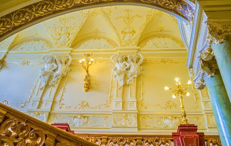 telamon: ODESSA, UKRAINE - MAY 17, 2015: The richly decorated interior of the Opera House shows city wealth in its golden age, on May 17 in Odessa.