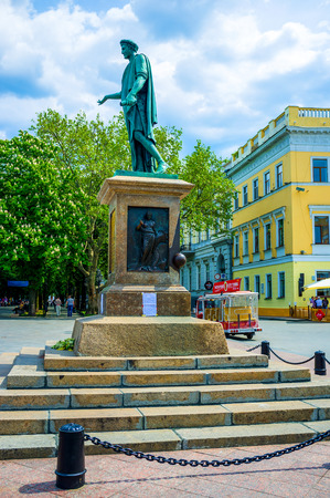 the founder: ODESSA, UKRAINE - MAY 17, 2015: The bronze monumet to the founder of the city is a favourite meeting place among local youth, on May 17 in Odessa.
