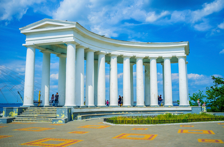 colonade: ODESSA, UKRAINE - MAY 17, 2015: The beautiful colonnade is a part of Vorontsovs Palace complex, located at the end of  Primorsky Boulevard, on May 17 in Odessa.