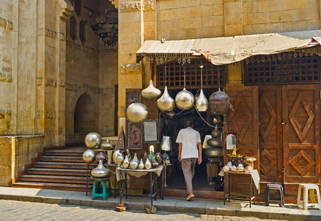 The market stall with numerous arabian lights on Al-Muizz street in Cairo, Egypt.