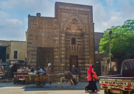 house donkey: CAIRO, EGYPT - OCTOBER 12, 2014: Immediately outside the Bab Zuweila gates starts Al Khayama street and bazaar stretches along this street from Al-Muizz, on October 12 in Cairo.
