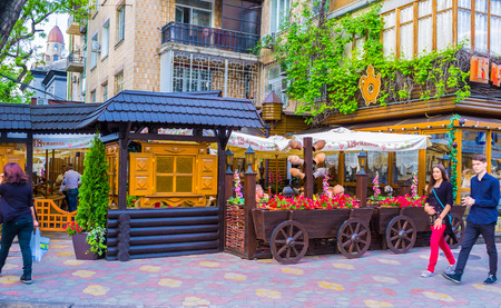 variously: ODESSA, UKRAINE - MAY 17, 2015: Odessa is rich on variously decorated restaurants and taverns with authentic cuisine, on May 17 in Odessa. Editorial