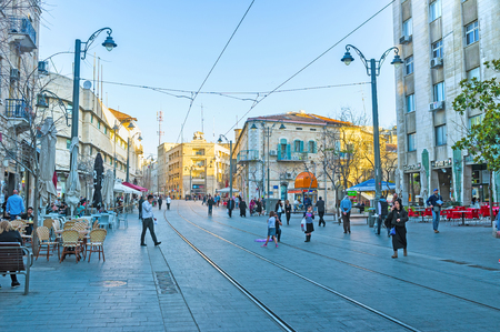 best place: JERUSALEM - FEBRUARY 15, 2016: Jaffa Road is the best place to relax in cafe or have some shopping, on February 15 in Jerusalem. Editorial