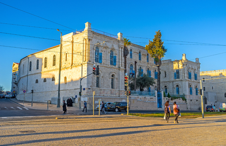 jaffa: JERUSALEM - FEBRUARY 15, 2016: The St Louis Hospital of Latin Patriarchate located next to the New Gate, on February 15 in Jerusalem. Editorial
