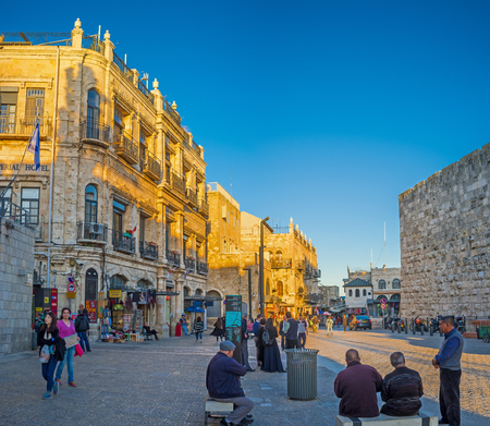 omar: JERUSALEM - FEBRUARY 15, 2016: The street of Omar Ben el-Hatab, running through the Jaffa Gate, is full of the tourist stalls, cafes and hotels, on February 15 in Jerusalem. Editorial
