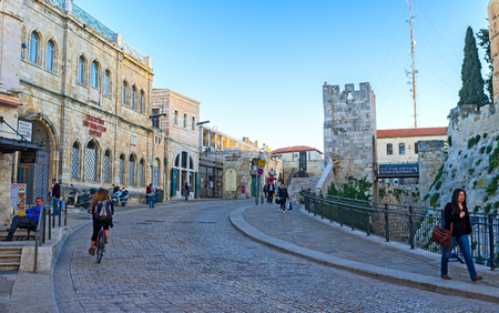 notable: JERUSALEM - FEBRUARY 15, 2016: The circular road leads to the entrance to the Davids Tower museum, one of the notable city landmarks, on February 15 in Jerusalem. Editorial