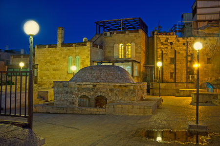 jerusalem: The walk on the Jerusalems roofs in Jewish Quarter is the popular tourist route, Israel.