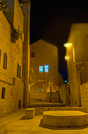 jewish quarter: The quiet and narrow streets of Jewish Quarter are perfect place to get lost in the evening, Jerusalem, Israel.