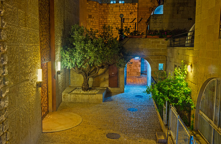 jerusalem: The green trees decorate the stone streets of Jewish Quarter, Jerusalem, Israel.