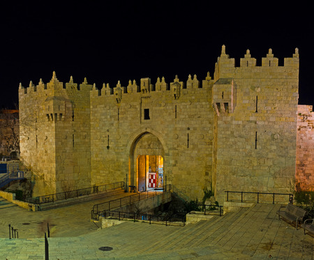 jerusalem: The magnifisent Damascus Gate is one of the city entrances, leading to the Arab Bazaar and Islamic Quarter, Jerusalem, Israel.