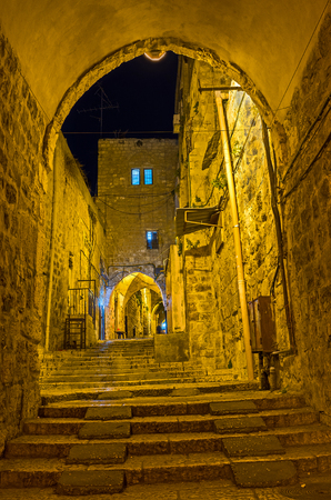 jerusalem: The narrow arched passage in Islamic Quarter leads to the Damascus Gate, Jerusalem, Israel.