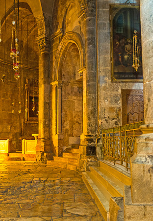 JERUSALEM, ISRAEL - FEBRUARY 16, 2016: The hall of Church of the Holy Sepulchre and the view on the St Longinus Chapel, on February 16 in Jerusalem.