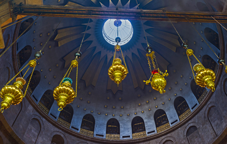 rotunda: JERUSALEM, ISRAEL - FEBRUARY 16, 2016: The cupola of Rotunda of Anastasis in Church of the Holy Sepulchre decorated with the stellar ornament, on February 16 in Jerusalem. Editorial