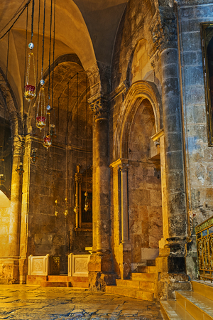 sepulchre: JERUSALEM, ISRAEL - FEBRUARY 16, 2016: The  St Longinus Chapel in Church of the Holy Sepulchre, on February 16 in Jerusalem.