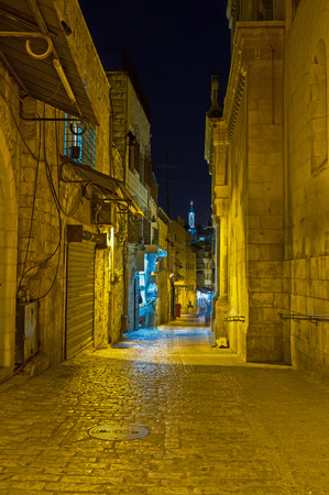 via dolorosa: The famous among pilgrims and tourists Via Dolorosa street is completely empty in evening, Jerusalem, Israel.