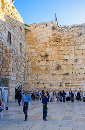 hasid: JERUSALEM, ISRAEL - FEBRUARY 16, 2016: The Hasidic Orthodox worshipers in the mens section of the Western Wall with, on February 16 in Jerusalem.