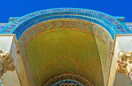 dome of the rock: The entrance canopy to the Dome of the Rock decorated with the golden mosaics and glazed tiles, on February 16 in Jerusalem.