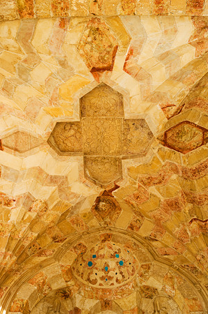 bab: JERUSALEM, ISRAEL - FEBRUARY 16, 2016: The cupola of carved stone with medieval islamic patterns decorates the arcade of Bab al-Silsila on the Temple Mount, on February 16 in Jerusalem. Editorial
