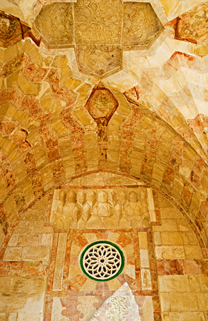 arcades: JERUSALEM, ISRAEL - FEBRUARY 16, 2016: The ceiling and walls of the arcades of Bab al-Silsila covered with the carved stone patterns, on February 16 in Jerusalem.