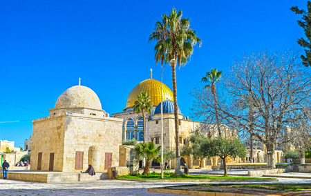 dome of the rock: JERUSALEM, ISRAEL - FEBRUARY 16, 2016: The shady garden with the old mosques and the golden cupola of the Dome of the Rock on the background, on February 16 in Jerusalem.