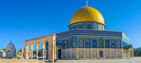 jerusalem: Panorama of the Dome of the Rock with the Scales of Souls colonnade and the Dome of Hebron from the left side, Jerusalem, Israel.