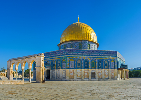 jerusalem: The Dome of the Rock is famous for its beauty among the tourists all over the world, Jerusalem, Israel.