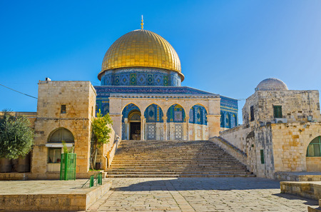 The staircase ending with the scenic stone colonnade leads to the Dome of the Rock, Jerusalem, Israel.