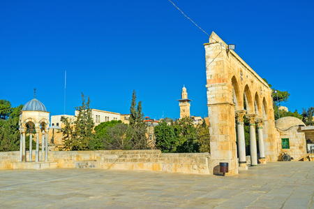 temple mount: The architectural ensemble of the Temple Mount consists of beautiful mosques Stock Photo