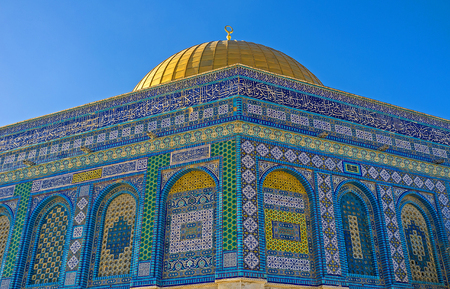 jerusalem: One of the eight corners of the Dome of the Rock, covered with colorful islamic patterns, Jerusalem, Israel.
