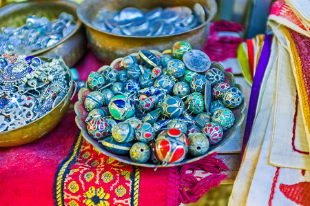 corall: The stalls of Arab Bazaar offers the wide range of traditional beads, made of silver and colorful jewelry stones, Jerusalem, Israel.