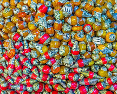 corall: The amber and corall beads, decorated with patterns of silver, Jerusalem, Israel. Stock Photo