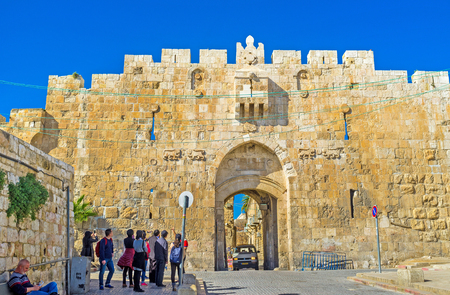 via dolorosa: JERUSALEM, ISRAEL - FEBRUARY 16, 2016: The Lions Gate is the start point of the Via Dolorosa, the last walk of Jesus from prison to crucifixion, on February 16 in Jerusalem. Editorial