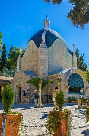 the holy land: JERUSALEM, ISRAEL - FEBRUARY 16, 2016: The Roman Catholic Church of Dominus Flevit on the Mount of Olives belonges to the Franciscan Custody of the Holy Land, on February 16 in Jerusalem. Editorial