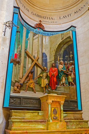via dolorosa: JERUSALEM, ISRAEL - FEBRUARY 16, 2016: The painted sculpture decoration in Church of Conviction, showing the Christs condemnation on Via Dolorosa, on February 16 in Jerusalem.