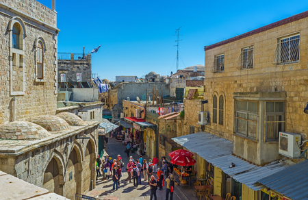 via dolorosa: JERUSALEM, ISRAEL - FEBRUARY 16, 2016: The Austrian Hospice is the perfect viewpoint, overlooking some area in Via Dolorosa street, on February 16 in Jerusalem. Editorial
