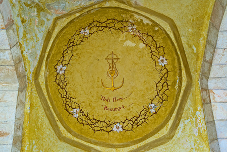 crown of thorns: JERUSALEM, ISRAEL - FEBRUARY 16, 2016: The cupola with the crown of thorns in Church of Our Lady of the Spasm, on February 16 in Jerusalem.